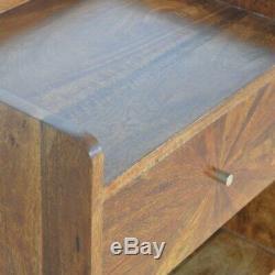 Milieu Du Siècle Sunburst Inlay Table De Chevet Bois De Châtaignier Ton