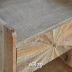 Milieu Du Siècle Sunburst Inlay Table De Chevet En Bois Naturel Tone