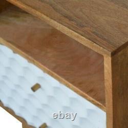 Nid D'abeille Scandinave Sculpté Deux Tiroirs Table De Chevet De Chevet