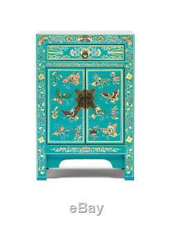 Oriental Bleu Sarcelle Avec Feuille D'or Armoire De Chevet Table D'appoint