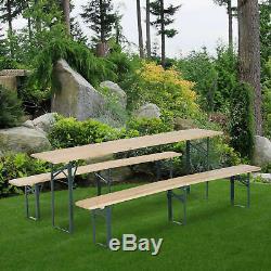 Outsunny Jardin Pliante En Bois Robuste Pique-nique Table Banc Set De Table Camping