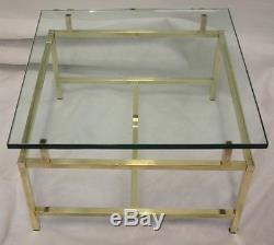 Paire X 2 Vintage 24 Table D'appoint En Laiton Et Verre Robuste Âge 26/06/1970