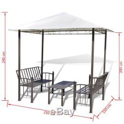 Pavillon De Jardin Vidaxl Avec Table Et Bancs Chapiteau De Belvédère De 2,5 X 1,5 X 2,4 M