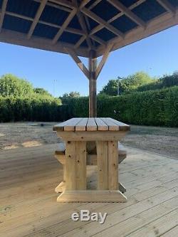 Pique-nique En Bois 6ft Table Et Banc, Heavy Duty, Jardin, Pub, Restaurant