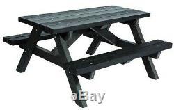 Plastique Recyclé Adulte Picnic Table Heavy Duty Entièrement Intégré Neuf En Noir