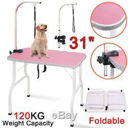 Pliable 31 Pet Dog Toilettage Parage Table Noose Réglable Bras En Acier Antidérapant