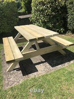 Pub Garden 5 Ft Banc De Table De Pique-nique Lourd 6 Seater Nouveau Bois Tanalisé