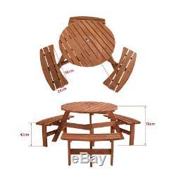 Pub Heavy Duty Qualité En Bois Rond 6 Places De Pique-nique Table Banquettes En Bois