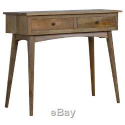 Retro Hall D'entrée 2 Tiroirs Console Table / Rustique Solide Bois De Manguier Bureau Jambes Scandi