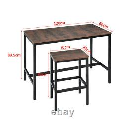 Rétro High Bar Pub Table Chair Set Home Kitchen Dining Breakfast Table 2/4 Tabouret