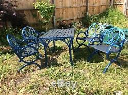 Robuste Jardin Fonte Meubles De Patio 4 Chaises Et Table Ancienne Rénovée