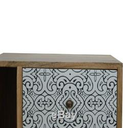 Scandinave Boho Style Noir Et Blanc Imprimé Avant Armoire De Chevet Table D'appoint