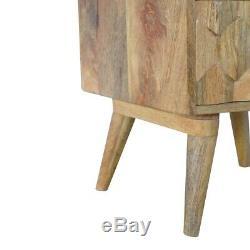 Scandinave Milieu Du Siècle Moderne En Bois Massif Sculpté À La Main 2 Tiroirs Table De Chevet
