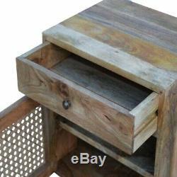 Scandinave Rustique Boho Table De Chevet / Table D'appoint Avec Porte En Rotin