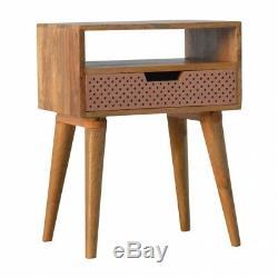 Scandinave Style Table De Chevet Avec Tiroir En Cuivre Perforé