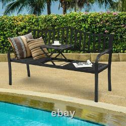 Siège D'amour Extérieur De Jardin De Patio Métallique Robuste Avec Table Pliable Moyenne