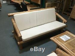 Sofa En Bambou Robuste, 2 Chaises Et Ensemble De Table