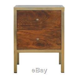 Style Art Déco Dark Wood & Gold Table De Chevet Avec 2 Tiroirs Et Poignées D'or