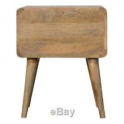 Style Scandinave 2 Table De Chevet Avec Tiroir En Bois Massif Arêtes Pâle Courbé