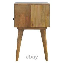Style Scandinave En Bois Massif Table De Chevet Avec Tiroir Peint En Blanc Et Étagère