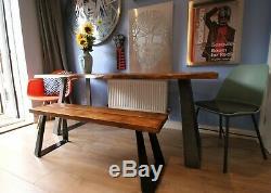 Table À Manger En Direct Waney Edge Et Banc Et Duty De Lourdes Uniques Sièges Design Jambe Six