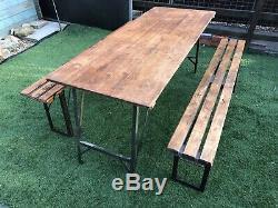 Table À Tréteaux Pliante Et Banc Mis En Salle À Manger Rustique Vintage Fold Up Army Heavy Duty
