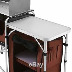Table Camping Portable Cuisine Pose De Cuisine Etagère Bbq Grill Pliant Enclosed