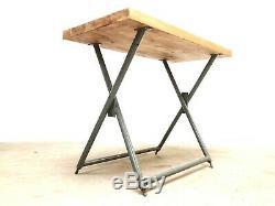 Table D'appoint De Bureau Robuste Mi-siècle Industrielle, Vintage