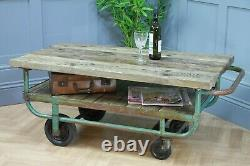 Table De Café De Trolley Industriel Vintage Recyclé Rustic De Service Lourd
