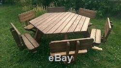 Table De Famille De Pique-nique De Jardin De 12 Sièges Avec Dossier Hexagonal Robuste 200kg