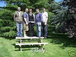 Table De Jardin 5 Pieds De Pique-nique Très Robuste En Séquoia (siège Large)