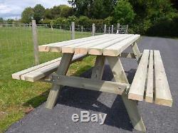 Table De Jardin À Usage Intensif En Séquoia (siège Large), 7 Pi