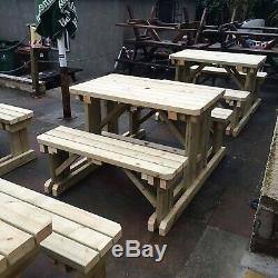 Table De Pique-nique Avec Banc De Jardin / Bar De Jardin En Bois Robuste