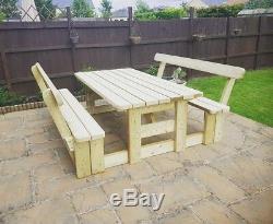 Table De Pique-nique / Banc De Jardin / Terrasse À Usage Intensif Avec Dossiers Entièrement Traitée