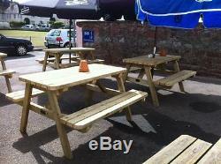 Table De Pique-nique De Jardin / Bar En Bois Robuste Avec Cadre En A