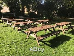 Table De Pique-nique En Bois 4ft Brown Teinture Meubles De Jardin Lourds Et Forts