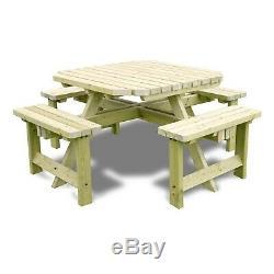 Table De Pique-nique En Plein Air Robuste Pour 8 Personnes En Terrasse, Octogonale