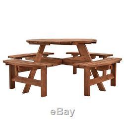 Table De Pique-nique Ronde En Bois De Jardin Robuste Avec Ensemble De Café, Hôtel Restaurant De Café