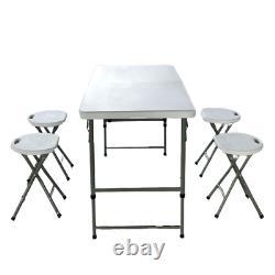 Table De Pliage 4 Pieds De Poids Lourd Portable En Plastique Camping Party Catering