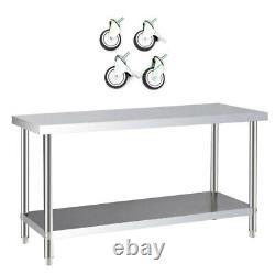 Table De Restauration De Cuisine En Acier Inoxydable Heavy Duty Work Bench Food Prep Table New