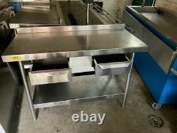 Table De Restauration En Acier Inoxydable Avec 2 Tiroirs-taille Très Propre