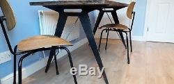 Table De Salle À Manger Industrielle Avec Pieds En Acier Robuste Pour Le Dessus En Bois Dur Massif 6