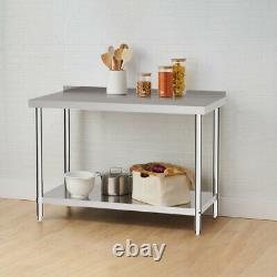 Table De Table De Restauration De Cuisine En Acier Inoxydable Résistant Table De Préparation De Banc Tableau 2 Niveau