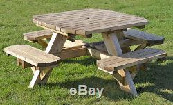 Table En Bois Robuste De 8 Places Octogonale De Table De Siège De Banc De Pique-nique
