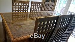 Table Et 6 Chaises En Bois Massif Sculpté À La Main Heavy Duty Unique En Bois