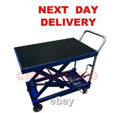 Table Hydraulique Mobile De Plate-forme De Chariot De Table De Levage De 300 Kg, Scissor Lift Blue