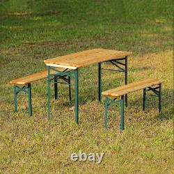 Table Pliante De Pique-nique Et Banc Ensemble Wood Metal Outdoor Garden Furniture Rectangle