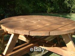 Table Ronde Résistante De 38mm De Table De Jardin De Siège De Banc De Pique-nique De Pub Rond 38mm D'épaisseur