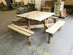 Tables De Pique-nique Robustes, Banc De Jardin En Bois, Table De Jardin 8 Places, Carré