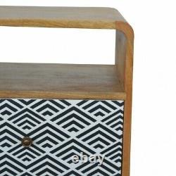 Tiroir Imprimé D'écran De Table De Table Arrondi De Modèle De Chevet Arrondi De Modèle De Milieu Du Siècle